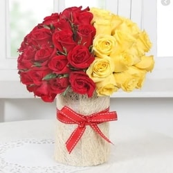 Red & Yellow Arrangement in Vase