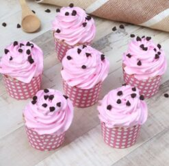 Cup Cakes of Choco Chips Decorated on Strawberry