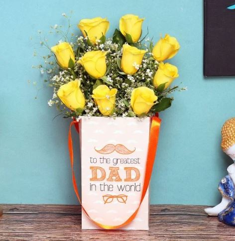 Yellow Roses in a Father's Day Vase