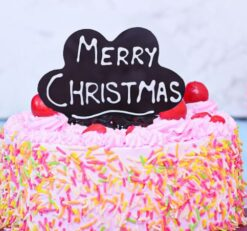 Colourfull Strawberry Christmas Cake